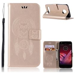 Intricate Embossing Owl Campanula Leather Wallet Case for Motorola Moto Z2 Play - Champagne