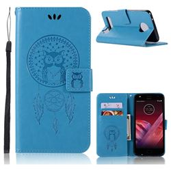 Intricate Embossing Owl Campanula Leather Wallet Case for Motorola Moto Z2 Play - Blue