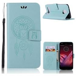 Intricate Embossing Owl Campanula Leather Wallet Case for Motorola Moto Z2 Play - Green