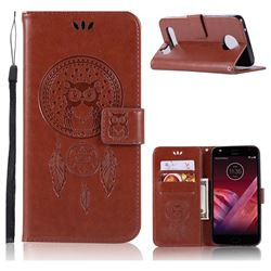 Intricate Embossing Owl Campanula Leather Wallet Case for Motorola Moto Z2 Play - Brown