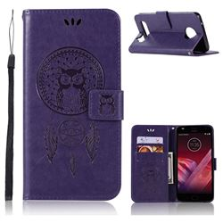 Intricate Embossing Owl Campanula Leather Wallet Case for Motorola Moto Z2 Play - Purple