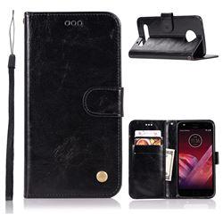 Luxury Retro Leather Wallet Case for Motorola Moto Z2 Play - Black