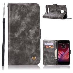 Luxury Retro Leather Wallet Case for Motorola Moto Z2 Play - Gray