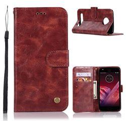 Luxury Retro Leather Wallet Case for Motorola Moto Z2 Play - Wine Red