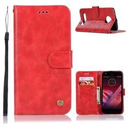 Luxury Retro Leather Wallet Case for Motorola Moto Z2 Play - Red