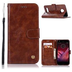 Luxury Retro Leather Wallet Case for Motorola Moto Z2 Play - Brown