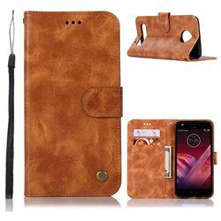 Luxury Retro Leather Wallet Case for Motorola Moto Z2 Play - Golden