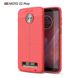 Luxury Auto Focus Litchi Texture Silicone TPU Back Cover for Motorola Moto Z3 Play - Red