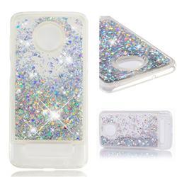 Dynamic Liquid Glitter Quicksand Sequins TPU Phone Case for Motorola Moto Z3 Play - Silver