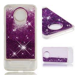 Dynamic Liquid Glitter Quicksand Sequins TPU Phone Case for Motorola Moto Z3 Play - Purple