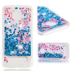 Blue Plum Blossom Dynamic Liquid Glitter Quicksand Soft TPU Case for Motorola Moto Z3 Play