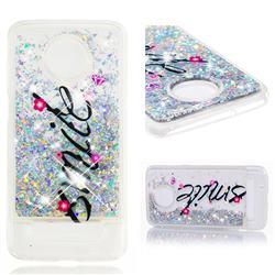 Smile Flower Dynamic Liquid Glitter Quicksand Soft TPU Case for Motorola Moto Z3 Play