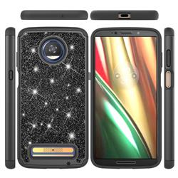 Glitter Rhinestone Bling Shock Absorbing Hybrid Defender Rugged Phone Case Cover for Motorola Moto Z3 Play - Black