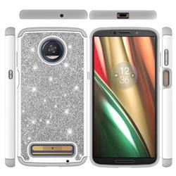 Glitter Rhinestone Bling Shock Absorbing Hybrid Defender Rugged Phone Case Cover for Motorola Moto Z3 Play - Gray