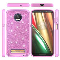 Glitter Rhinestone Bling Shock Absorbing Hybrid Defender Rugged Phone Case Cover for Motorola Moto Z3 Play - Pink