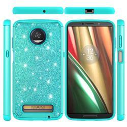 Glitter Rhinestone Bling Shock Absorbing Hybrid Defender Rugged Phone Case Cover for Motorola Moto Z3 Play - Green