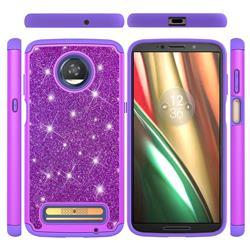 Glitter Rhinestone Bling Shock Absorbing Hybrid Defender Rugged Phone Case Cover for Motorola Moto Z3 Play - Purple