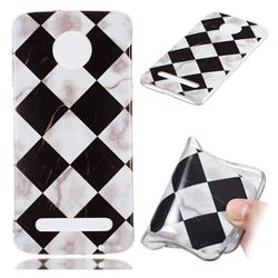 Black and White Matching Soft TPU Marble Pattern Phone Case for Motorola Moto Z3 Play