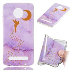 Elf Purple Soft TPU Marble Pattern Phone Case for Motorola Moto Z3 Play