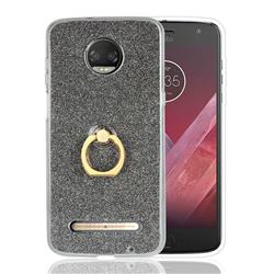Luxury Soft TPU Glitter Back Ring Cover with 360 Rotate Finger Holder Buckle for Motorola Moto Z3 Play - Black