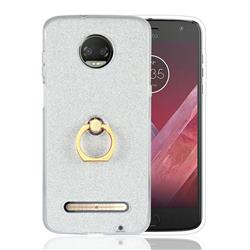 Luxury Soft TPU Glitter Back Ring Cover with 360 Rotate Finger Holder Buckle for Motorola Moto Z3 Play - White