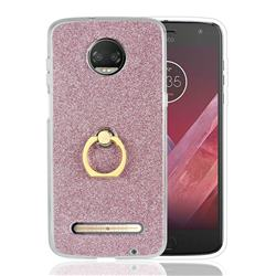 Luxury Soft TPU Glitter Back Ring Cover with 360 Rotate Finger Holder Buckle for Motorola Moto Z3 Play - Pink
