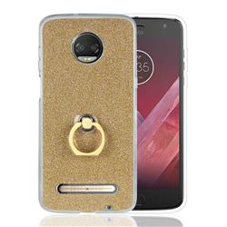 Luxury Soft TPU Glitter Back Ring Cover with 360 Rotate Finger Holder Buckle for Motorola Moto Z3 Play - Golden