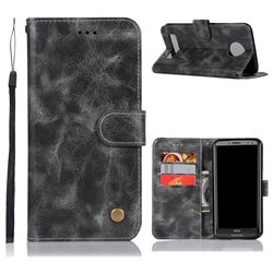 Luxury Retro Leather Wallet Case for Motorola Moto Z3 Play - Gray