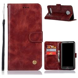 Luxury Retro Leather Wallet Case for Motorola Moto Z3 Play - Wine Red
