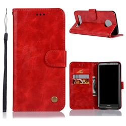 Luxury Retro Leather Wallet Case for Motorola Moto Z3 Play - Red