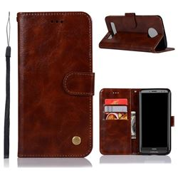 Luxury Retro Leather Wallet Case for Motorola Moto Z3 Play - Brown