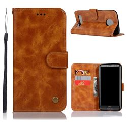 Luxury Retro Leather Wallet Case for Motorola Moto Z3 Play - Golden