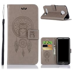 Intricate Embossing Owl Campanula Leather Wallet Case for Motorola Moto Z3 Play - Grey