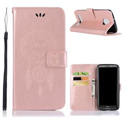 Intricate Embossing Owl Campanula Leather Wallet Case for Motorola Moto Z3 Play - Rose Gold