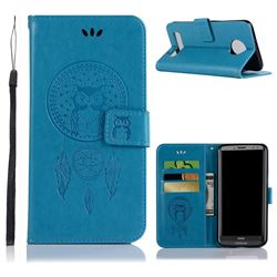 Intricate Embossing Owl Campanula Leather Wallet Case for Motorola Moto Z3 Play - Blue