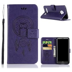 Intricate Embossing Owl Campanula Leather Wallet Case for Motorola Moto Z3 Play - Purple