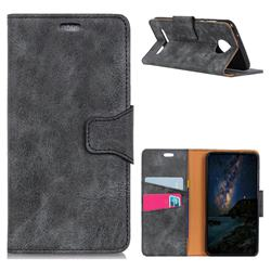 MURREN Luxury Retro Classic PU Leather Wallet Phone Case for Motorola Moto Z3 Play - Gray