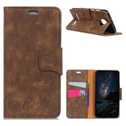MURREN Luxury Retro Classic PU Leather Wallet Phone Case for Motorola Moto Z3 Play - Brown