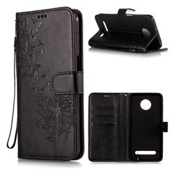 Intricate Embossing Dandelion Butterfly Leather Wallet Case for Motorola Moto Z3 Play - Black
