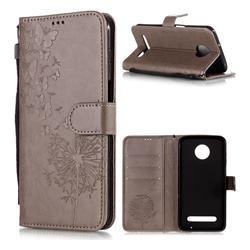 Intricate Embossing Dandelion Butterfly Leather Wallet Case for Motorola Moto Z3 Play - Gray