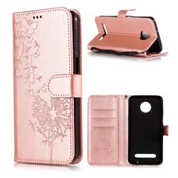 Intricate Embossing Dandelion Butterfly Leather Wallet Case for Motorola Moto Z3 Play - Rose Gold