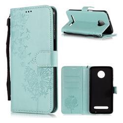 Intricate Embossing Dandelion Butterfly Leather Wallet Case for Motorola Moto Z3 Play - Green