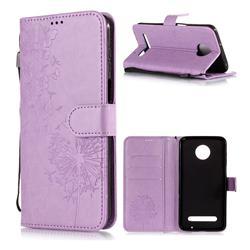 Intricate Embossing Dandelion Butterfly Leather Wallet Case for Motorola Moto Z3 Play - Purple