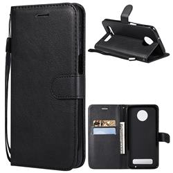 Retro Greek Classic Smooth PU Leather Wallet Phone Case for Motorola Moto Z3 Play - Black