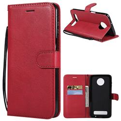 Retro Greek Classic Smooth PU Leather Wallet Phone Case for Motorola Moto Z3 Play - Red