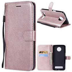 Retro Greek Classic Smooth PU Leather Wallet Phone Case for Motorola Moto Z3 Play - Rose Gold