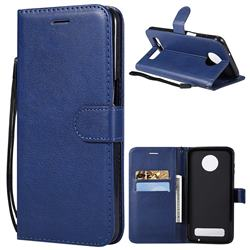 Retro Greek Classic Smooth PU Leather Wallet Phone Case for Motorola Moto Z3 Play - Blue