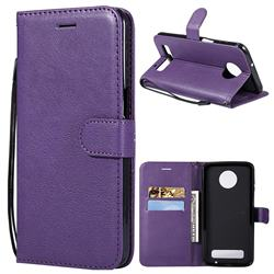 Retro Greek Classic Smooth PU Leather Wallet Phone Case for Motorola Moto Z3 Play - Purple