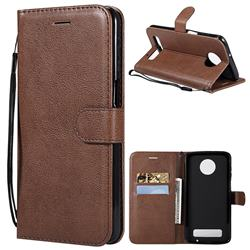 Retro Greek Classic Smooth PU Leather Wallet Phone Case for Motorola Moto Z3 Play - Brown
