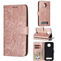 Intricate Embossing Lace Jasmine Flower Leather Wallet Case for Motorola Moto Z3 Play - Rose Gold